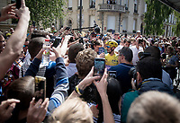 the first french yellow jersey in 5 years, Julian Alaphilippe (FRA/Deceuninck - Quick-Step), getting a LOT of love & attention as he steps down the teambus at the race start in Reims<br /> <br /> Stage 4: Reims to Nancy(215km)<br /> 106th Tour de France 2019 (2.UWT)<br /> <br /> ©kramon