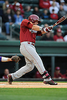 First baseman Kyle Martin (33) of the South Carolina Gamecocks at bat in a game against the Furman Paladins on Tuesday, April 8, 2014, at Fluor Field at the West End in Greenville, South Carolina. (Tom Priddy/Four Seam Images)