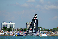 SoftBank Team Japan, JULY 23, 2016 - Sailing: SoftBank Team Japan in action in front of the Portsmouth crowds during day one of the Louis Vuitton America's Cup World Series racing, Portsmouth, United Kingdom. (Photo by Rob Munro/Stewart Communications)