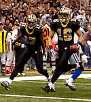 December 2009: New Orleans Saints wide receiver Lance Moore (16) scores a touchdown during an NFL football game at the Louisiana Superdome in New Orleans.  The Cowboys defeated the Saints 24-17.