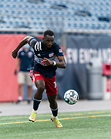 FOXBOROUGH, MA - JULY 25: USL League One (United Soccer League) match. Mayele Malango #10 of New England Revolution II on the attack during a game between Union Omaha and New England Revolution II at Gillette Stadium on July 25, 2020 in Foxborough, Massachusetts.