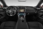 Stock photo of straight dashboard view of 2015 Jaguar XE R-Sport 4 Door Sedan Dashboard