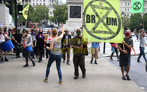 Protesters march to Westminster<br /> Extinction Rebellion demonstrators hold a Redress the Injustice day of protest around Central London, opposing the fashion industry's many human, animal and environmental injustices. September 9th 2020<br /> CAP/ROS<br /> ©ROS/Capital Pictures
