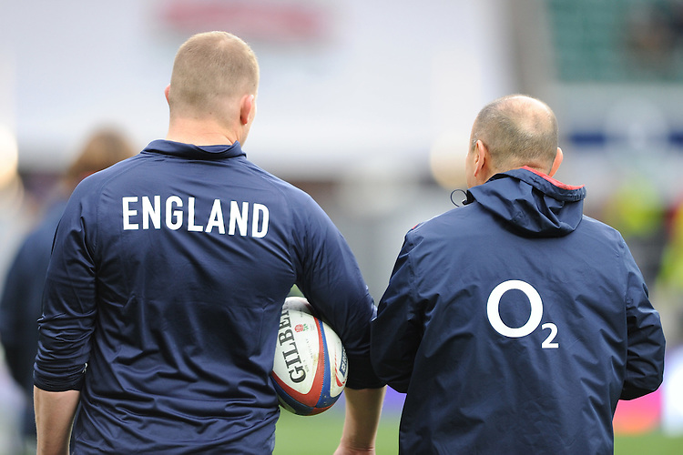 Dylan Hartley with Eddie Jones, FEBRUARY 27, 2016 - Rugby : Dylan Hartley of England with Eddie Jones,England Head Coach before the RBS 6 Nations match between England and Ireland at Twickenham Stadium, London, United Kingdom. (Photo by Rob Munro)