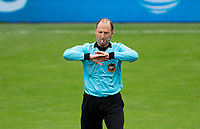 LOS ANGELES, CA - OCTOBER 25: Referee Kevin Stott waving off a goal during a game between Los Angeles Galaxy and Los Angeles FC at Banc of California Stadium on October 25, 2020 in Los Angeles, California.