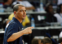 Sergio HERNANDEZ (Argentina) head coach, reacts during the quarter-final World championship basketball match against Lithuania in Istanbul, Lithuania-Argentina, Turkey on Thursday, Sep. 09, 2010.  (Novak Djurovic/Starsportphoto.com).