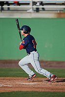 Salem Red Sox shortstop Chad De La Guerra (18) at bat during the first game of a doubleheader against the Potomac Nationals on May 13, 2017 at G. Richard Pfitzner Stadium in Woodbridge, Virginia.  Potomac defeated Salem 6-0.  (Mike Janes/Four Seam Images)