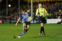 Tom Heathcote of Bath Rugby takes a penalty kick during the LV= Cup semi final match between Bath Rugby and Leicester Tigers at The Recreation Ground, Bath (Photo by Rob Munro, Fotosports International)