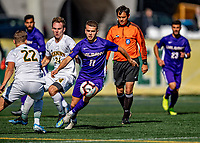 5 October 2019: University at Albany Great Dane Midfielder Hafliði Sigurðarson, a Sophomore from Reykjavík, Iceland, in action against the University of Vermont Catamounts at Virtue Field in Burlington, Vermont. The Catamounts fell to the visiting Danes 3-1 in America East, Division 1 play. Mandatory Credit: Ed Wolfstein Photo *** RAW (NEF) Image File Available ***