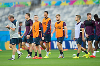 England manager Roy Hodgson at training with Luke Shaw, Ross Barkley, Jack Wilshere and Chris Smalling who have all been handed starts for the match against Costa Rica