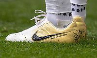 The Nike limited edition Euphoria Gold football boots of Raheem Sterling of Man City displaying UNRULY MELODY ROSE during the FA Cup FINAL match between Manchester City and Watford at Wembley Stadium, London, England on 18 May 2019. Photo by Andy Rowland.<br /> .<br /> Editorial use only, license required for commercial use. No use in betting,<br /> games or a single club/league/player publications.'