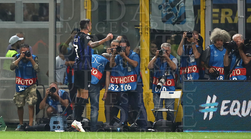 Football Soccer: UEFA Champions League FC Internazionale Milano vs Tottenham Hotspur FC, Giuseppe Meazza stadium, September 15, 2018.<br /> Inter's Matias Vecino (second from right) celebrates after scoring during the Uefa Champions League football match between Internazionale Milano and Tottenham Hotspur at Giuseppe Meazza (San Siro) stadium, September 18, 2018.<br /> UPDATE IMAGES PRESS/Isabella Bonotto