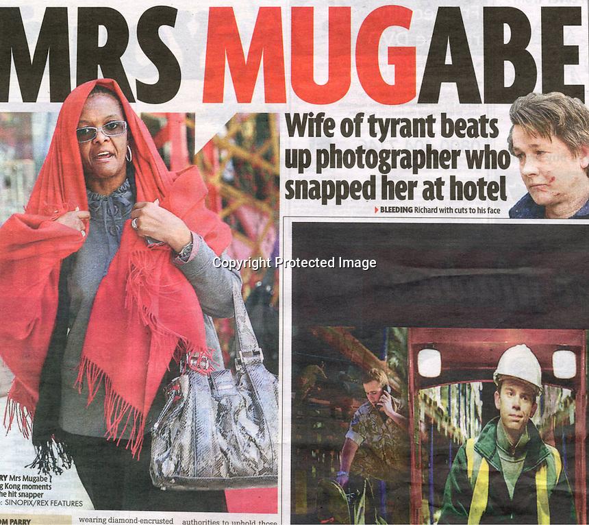 UK Daily Mirror Newspaper, Jan 2009, showing the incident where Grace Mugabe attacked photographer Richard Jones. ©sinopix