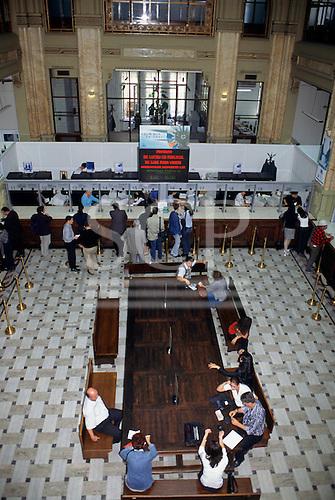 Bucharest, Romania. Development Bank - customers being served; high view.