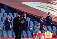 U.S. singer Sergio Sylvestre sings the Italian national anthem before the start of the Italian Cup football final match between Napoli and Juventus at Rome's Olympic stadium, June 17, 2020. Napoli won 4-2 at the end of a penalty shootout following a scoreless draw.<br /> UPDATE IMAGES PRESS/Isabella Bonotto