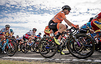 Defending champion Annemiek van Vleuten (NED/Mitchelton-Scott) riding the roadrace only 10 days after fracturing her wrist in the Giro Rosa.<br /> <br /> Women's Elite Road Race from Imola to Imola (143km)<br /> <br /> 87th UCI Road World Championships 2020 - ITT (WC)<br /> <br /> ©kramon