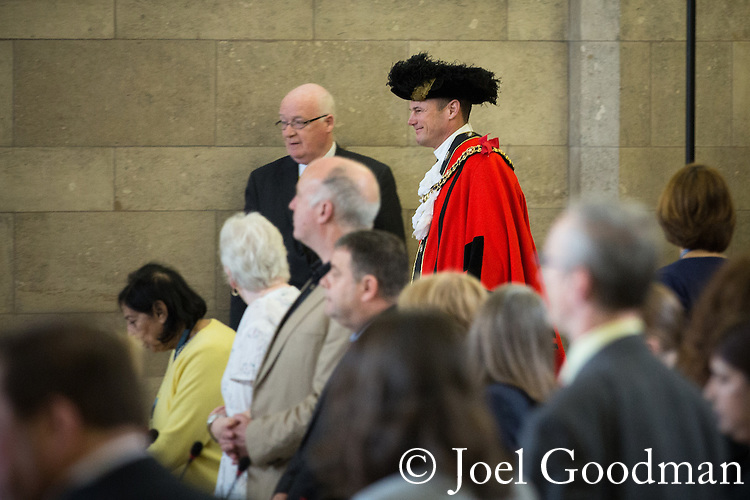 © Joel Goodman - 07973 332324 . 13/07/2016. Manchester , UK . Lord Mayor , CLLR CARL AUSTIN-BEHAN , former Mr Gay UK , who was dismissed from the RAF in 1997 because of his sexuality . Proceedings at a Manchester City Council meeting , at the Town Hall in Manchester . Photo credit : Joel Goodman