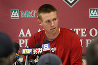 April 11, 2010:  First overall draft pick of the 2009 MLB Draft Stephen Strasburg (37) answers questions in a press conference after making his professional debut with the Harrisburg Senators, Double-A affiliate of the Washington Nationals, in a game vs. the Altoona Curve, affiliate of the Pittsburgh Pirates, at Blair County Ballpark in Altoona, PA.  Photo By Mike Janes/Four Seam Images