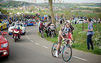Carlos Betancur (COL/AG2R-La Mondiale) working his way up the Camerig climb heading back into the peloton<br /> <br /> Amstel Gold Race 2014