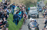 race leaders Greg Van Avermaet (BEL/BMC), Philippe Gilbert (BEL/Quick Step floors) & Oliver Naesen (BEL/AG2R-LaMondiale) detached themselves from a bigger group on the Oude Kwaremont<br /> <br /> 60th E3 Harelbeke (1.UWT)<br /> 1day race: Harelbeke › Harelbeke - BEL (206km)