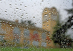 The Mill Valley Tamalpais High School seen through winter raindrops.