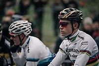 a focused CX world champion Wout Van Aert (BEL/Crelan-Charles) on the start grid<br /> <br /> Elite Men's race<br /> UCI CX World Cup Namur / Belgium 2017
