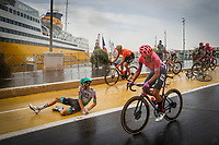 29th August 2020, Nice, France;  crash of KAMNA Lennard of BORA - hansgrohe  during stage 1 of the 107th edition of the 2020 Tour de France cycling race, a stage of 156 kms with start in Nice Moyen Pays and finish in Nice