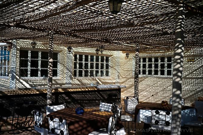 The dining terrace of the Calipau Sahara hotel in Dakhla, Morocco on Dec. 17, 2011.