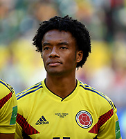 SAMARA - RUSIA, 28-06-2018: Juan CUADRADO jugador de Colombia durante los actos protocolarios previo al partido de la primera fase, Grupo H, entre Senegal y Colombia por la Copa Mundial de la FIFA Rusia 2018 jugado en el estadio Samara Arena en Samara, Rusia. / Juan CUADRADO player of Colombia during the formal events prior the match between Senegal and Colombia of the first phase, Group H, for the FIFA World Cup Russia 2018 played at Samara Arena stadium in Samara, Russia. Photo: VizzorImage / Julian Medina / Cont