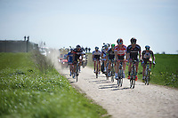 lead group over sector 26: Viesly à Quiévy (1.8km)<br /> <br /> 113th Paris-Roubaix 2015