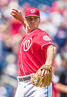 26 April 2014: Washington Nationals outfielder Tyler Moore warms up prior to a game against the San Diego Padres at Nationals Park in Washington, DC. The Nationals shut out the Padres 4-0 to take the third game of their 4-game series. Mandatory Credit: Ed Wolfstein Photo *** RAW (NEF) Image File Available ***