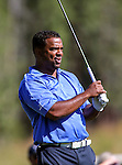 Actor Alfonso Ribeiro watches a shot during the American Century Championship practice round at Edgewood Tahoe Golf Course in Stateline, Nev., on Wednesday, July 15, 2015. <br /> Photo by Cathleen Allison
