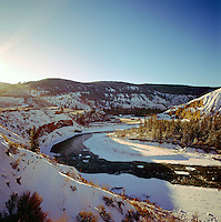 Cariboo Chilcotin Coast Region, BC, British Columbia, Canada - Chilcotin River flowing through Farwell Canyon, Winter