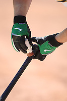 OAKLAND, CA - August 16:  Jack Cust of the Oakland Athletics grips his bat with Nike batting gloves on his hands in the on deck circle during the game against the Chicago White Sox at the McAfee Coliseum in Oakland, California on August 16, 2007.  The Athletics defeated the White Sox 8-5.  Photo by Brad Mangin