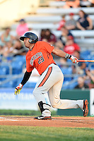 Aberdeen IronBirds third baseman Hector Veloz (29) at bat during a game against the Williamsport Crosscutters on August 4, 2014 at Bowman Field in Williamsport, Pennsylvania.  Aberdeen defeated Williamsport 6-3.  (Mike Janes/Four Seam Images)