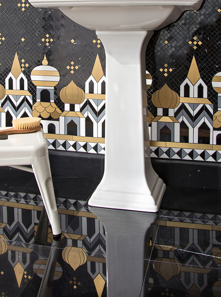 """Tzarry Tzarry Night, a waterjet and hand-cut stone mosaic, shown in polished Nero Marquina, Bardiglio, and Dolomite with Brass, is part of Cean Irminger's second KIDDO Collection, """"KIDDO: Wunderkammer® Edition"""" for New Ravenna."""