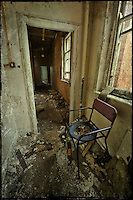 Commode chair in corridor at Hellingly Asylum