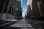 Empty streets and sidewalks are seen in front of Radio City Music Hall  during the coronavirus pandemic in New York, U.S., on Wednesday, April 1, 2020.  Photograph by Michael Nagle