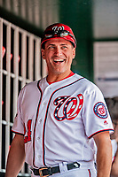 20 May 2018: Washington Nationals First Base Coach Tim Bogar in the dugout prior to a game against the Los Angeles Dodgers at Nationals Park in Washington, DC. The Dodgers defeated the Nationals 7-2, sweeping their 3-game series. Mandatory Credit: Ed Wolfstein Photo *** RAW (NEF) Image File Available ***