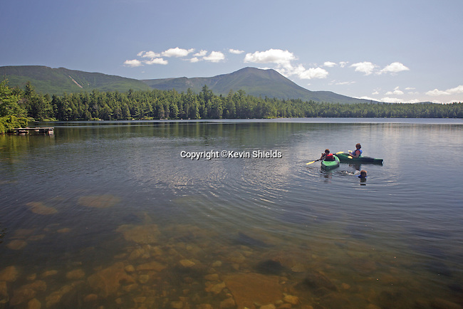 Kids playing in Daicey Pond, Baxter State Park, Maine, USA