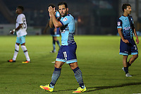 Sam Wood of Wycombe Wanderers applauds the home fans after the The Checkatrade Trophy match between Wycombe Wanderers and West Ham United U21 at Adams Park, High Wycombe, England on 4 October 2016. Photo by David Horn.