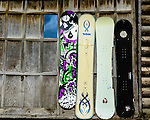 Snowboards on cabin in Jackson, Wyoming