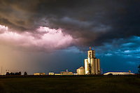 Colorful Thunderstorm at Night in Greensburg, KS