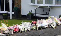 """COPY BY TOM BEDFORD<br /> Pictured: Flowers left at the scene where Pearl Black was hit by a car in Heolgerrig, Merthyr Tydfil, Wales, UK. Friday 18 August 2017<br /> Re: The funeral of a toddler who died after a parked Range Rover's brakes failed and it hit a garden wall which fell on top of her will be held today at Merthyr Tydfil.<br /> One year old Pearl Melody Black and her eight-month-old brother were taken to hospital after the incident in south Wales.<br /> Pearl's family, father Paul who is The Voice contestant and mum Gemma have said she was """"as bright as the stars""""."""
