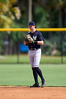 FCL Yankees shortstop Trey Sweeney (33) during a game against the FCL Tigers West on July 31, 2021 at Tigertown in Lakeland, Florida.  (Mike Janes/Four Seam Images)