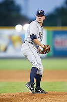 Princeton Rays starting pitcher Trevor Lubking (28) in action against the Burlington Royals at Burlington Athletic Park on July 11, 2014 in Burlington, North Carolina.  The Rays defeated the Royals 5-3.  (Brian Westerholt/Four Seam Images)