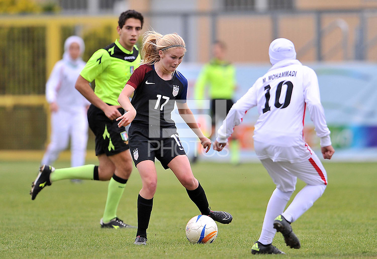 Monfalcone, Italy, April 26, 2016.<br /> USA's #17 Nighswonger passes the ball during USA v Iran football match at Gradisca Tournament of Nations (women's tournament). Monfalcone's stadium.<br /> © ph Simone Ferraro / Isiphotos