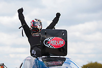 Oct 20, 2019; Ennis, TX, USA; NHRA top alcohol funny car driver Sean Bellemeur celebrates after winning the Fall Nationals at the Texas Motorplex. Mandatory Credit: Mark J. Rebilas-USA TODAY Sports