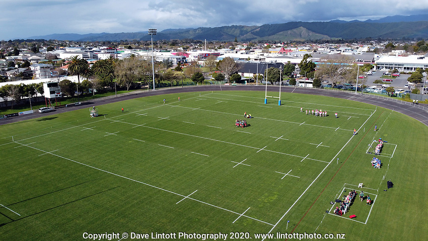 An aerial view of the Heartland Championship and PGG Wrightson Cup rugby match between Horowhenua-Kapiti and Wairarapa Bush at Levin Domain in Levin, New Zealand on Saturday, 8 August 2020. Photo: Dave Lintott / lintottphoto.co.nz