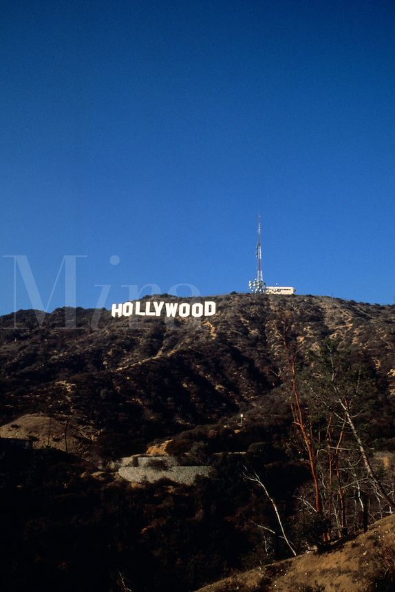 World Famous Hollywood sign signage on mountain of Hollywood with movie industry in Los Angeles Californi